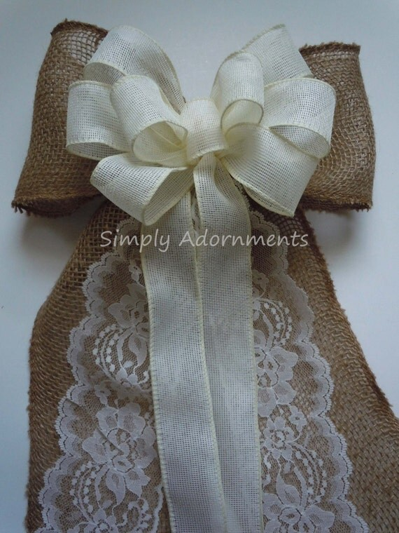 Ivory Lace and Burlap Wedding Bow Elegant Burlap Bow Vintage Burlap and Lace Wedding Aisle Bow Rustic Burlap Country Wedding Chair Bow