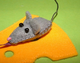 Handmade beads mouse & cheese - felt - bookmark - bookmark - mouse - cheese - felt