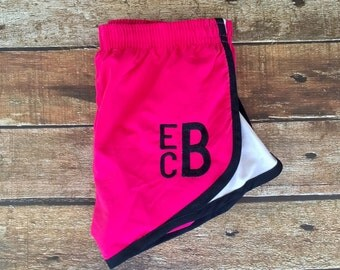 Monogrammed Running Shorts Monogram Shorts MORTS Personalized Athletic shorts