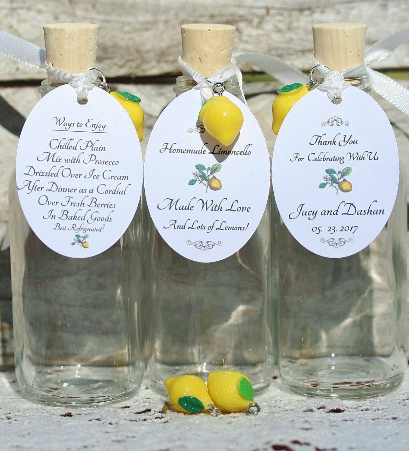 10 Custom Tags And 10 Lemon Charms Limoncello Tags Yellow Lemon Charms Limoncello Favors Customized Limoncello Tags Order As Many Needed