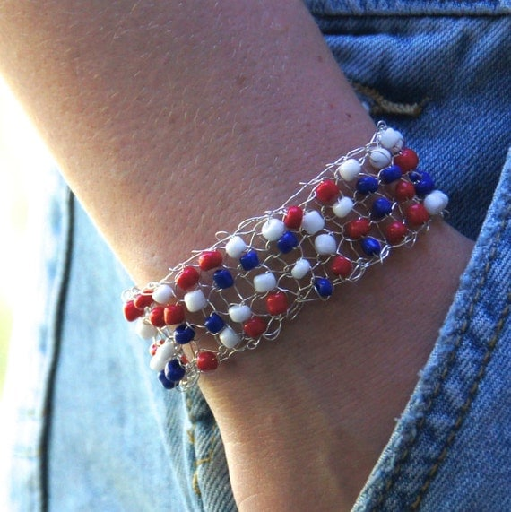 Patriotic Bracelet - 4th of July Bracelet - Silver Mesh Bracelet - Beaded Silver Bracelet - Knitted Bracelet - 4th of July Cuff Bracelet