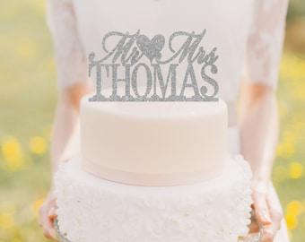 Wedding Cake Topper Mr And Mrs For Glitter Sparkle