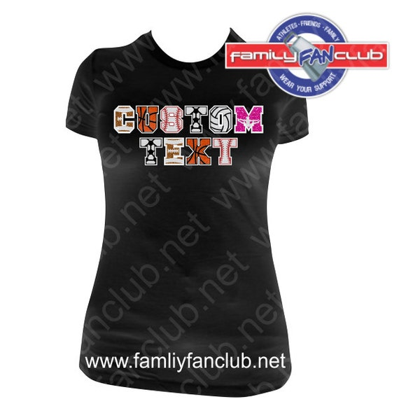 CUSTOM TEXT sports letters font with blank back, great for Baseball, Soccer, Football & Basketball, Cheer Moms, makes a great gift