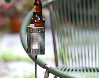 Gift For Dad- Hobo Tin Can Beer Holder, Personalized Garden Drink Holder, Father's Day Gift