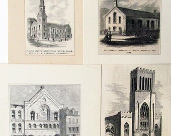 4 Brooklyn Churches: Historic 19th Century Antique Wood Engravings / Instant Collection/Free Shipping