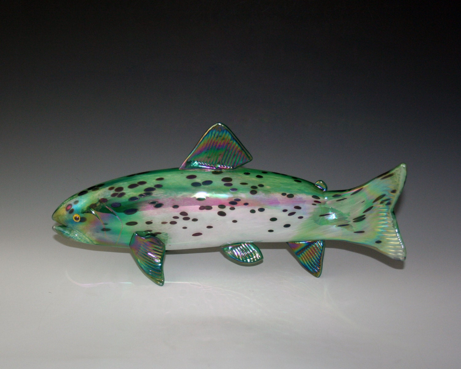 Hand blown glass fish rainbow trout sculpture by for Blown glass fish