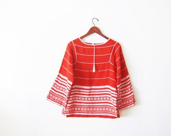 Embroidered Mexican Shirt / Peasant Blouse / Long Sleeve Bohemian Blouse