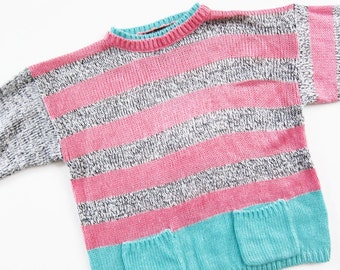 vintage sweater / striped sweater / knit sweater / pullover jumper / crewneck / 80s sweater / teal pink black neon
