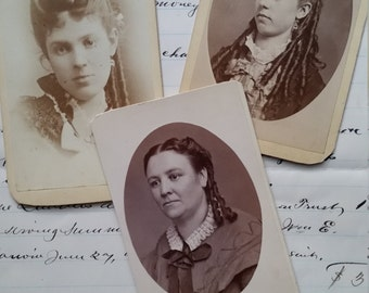 Victorian Cabinet Card Lot | Photography | 1800's Women, Girls with Curls
