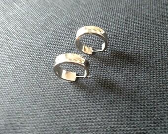 Sterling Silver Wide Hoop Earrings  **FREE SHIPPING**