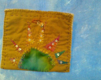 Quilted and Beaded Sun Pouch