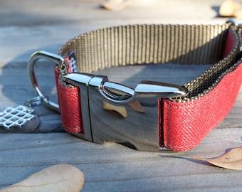 Soft Red Herringbone, Fall Dog Collar, Autumn Dog Collar, Adjustable, Silver Hardware
