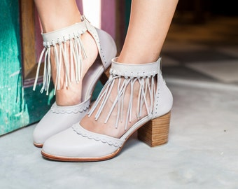 HERMOSA. Ivory leather heel shoes / women shoes / high heels / leather shoes / fringe shoes. Sizes 35-43. Available in different colors