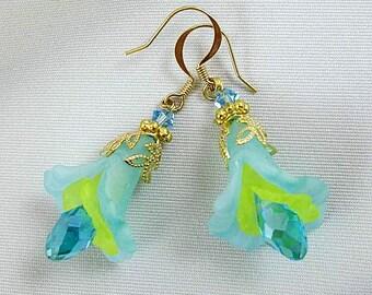 Drop Earrings, Dangle Earrings, Hypoallergenic Earrings, Blue Earrings, Nickel Free Earrings, Flower Earrings, Green Earrings
