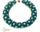 Hand Woven 6mm Teal Czech Glass Pearl Bracelet with matching Toho seed beads, copper accent beads, copper magnet clasp