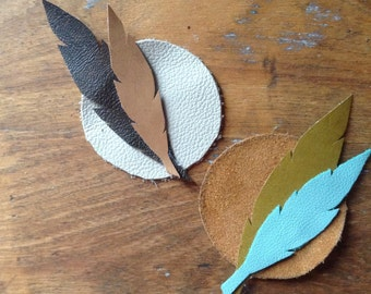 Boho Feather Leather Boutonniere Pin < The Moon & Back > //  Recycled Leather Bohemian Groom Pin // Boho Leather Pin Custom Made