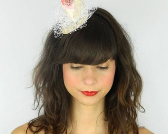 RESERVED! Fascinator Headpiece with Vintage Shabby Chic Rose Cake with Veil - Birthday Party Hat
