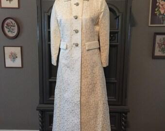 60s Brocade Wedding Evening Long Coat with Metal Rhinestone Buttons