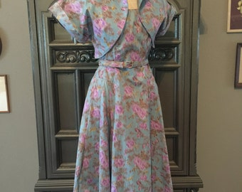 50s Watercolor Floral Print Dress with Bolero