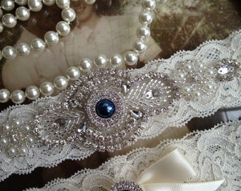 Wedding Garter-Bridal Garter-Garter-Custom garter-Something Blue-Navy-Rhinestone-Blue-Keepsake-Lace Garter-Ivory-Garter Belt-Elastic Lace