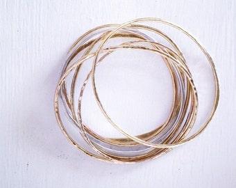 Gold Bangle - stacking bangle- brass bangle - hammered bangle- gold bracelet