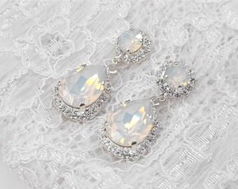White Opal Wedding Earrings Winter Wedding White Wedding White Bridesmaids White Opal Swarovski Crystal Silver Bridal Chandelier Earrings