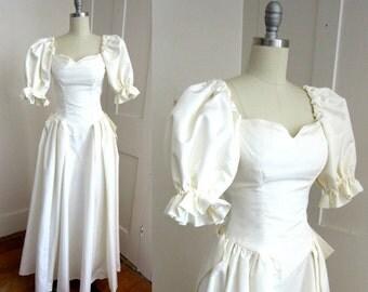 XXS Wedding Dress - Petite - White Wedding Gown - Raw Silk - Custom Made - Extra Small - Puff Sleeve - Back Bow - Petite Wedding Dress