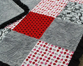 Ladybug Paisley Floral Blanket
