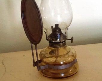 Vintage Patio Oil Lamp, Japan, Amber Base, Copper Reflector