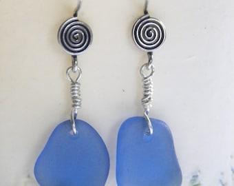 Sea glass earrings - cornflower blue sea glass - silver drop earrings -beach jewelry