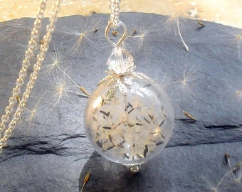 STERLING DANDELION NECKLACE, rare wildflower seeds, dandelion jewelry, terrarium necklace, make a wish necklace, Boho, wedding, gift women