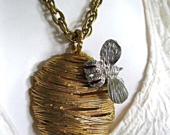Beehive with Bee Pendant, Rare Erwin Pearl Large Bumblebee on Hive, Rhinestone Honeybee Necklace, Golden Textured Dimensional Figures