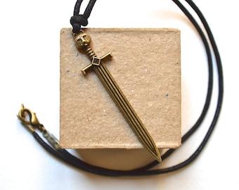 Sword Necklace - Bronze Pendant - For Men - Vintage Style - Handmade