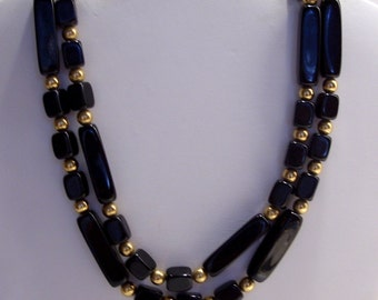 Trifari Black Rectangular Bead Necklace with Round Gold Spacers