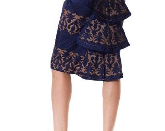 Vintage 1950s Knockout Silk Taffeta Fishtail Skirt  Size: XS/S