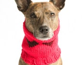 MEDIUM SnugABull Limited Rouge Snood with Claret Hearts with Ribbed Collar and Ear Holes