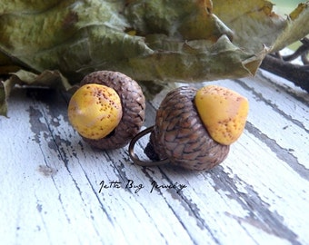 Mustard Small Oak Fruit- polymer clay acorn- ONE- real acorn caps. dark mustard. Autumn acorn bead charm. Rustic fall.  Jettabugjewelry