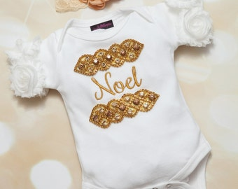 Personalized Infant Baby Girl One Piece White Cotton Short Sleeve One Piece with  Gold Rhinestone Frame