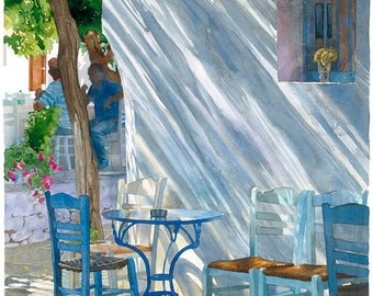 Glass of dried Mimosa: shadows on blue chairs, Watercolour Giclée print