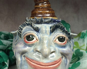 Wheel thrown, hand sculpted Face Jug. Just a friendly face to brighten your day. (FJ3)