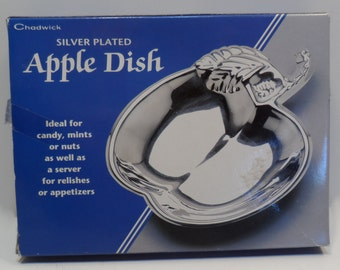 Vintage, Apple Dish,  Silver Plated for Jewlery, Change, Trinkets, Candy, Nuts, Relish or Sauce, New In Box, Chadwick-Miller INC