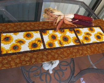 Quilted Fall Table Runner Quilt Autumn Sunflowers 511