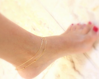 Gold anklets - Set of 2 gold ankle bracelets, Super Sweet Anklet, Heart Anklet, Gold Heart Anklet