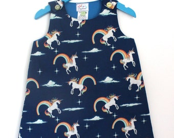 Navy Unicorn Dress - Made to order ages 3mths to 8yrs