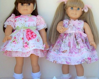 Happy Valentines Day Doll Tea Party Dresses with Lace Trim and Decorative Bows and Ribbons. Sold separately or as a set.
