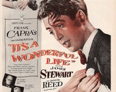 1946 It's a Wonderful Life James Stewart Donna Reed Lionel Barrymore Movie Poster Ad Christmas Classic Old Hollywood Holiday Decoration Art
