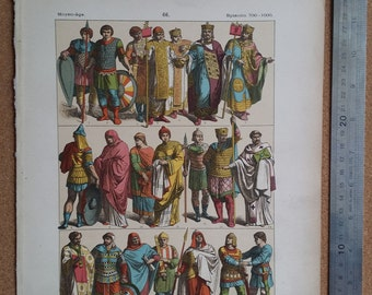1890s Vintage Color Print Byzantine Costume (700-1000AD) Hottenroth, Wall Art Deco