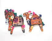 Vintage Cloth Camel and Horse, Ornate, Indian Decor, Antique Alchemy