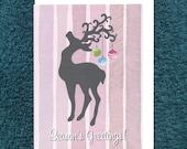 Christmas Reindeer Bauble Card Modern Recycled