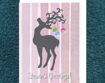 Christmas Reindeer Bauble Card Modern Recycled